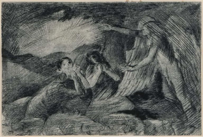 [Angel With Three Worshippers]. Ray Crooke, b.1922 Aust.