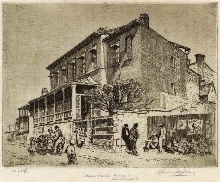 Black Walled House, Cumberland Street [Sydney]. Lionel Lindsay, Aust.