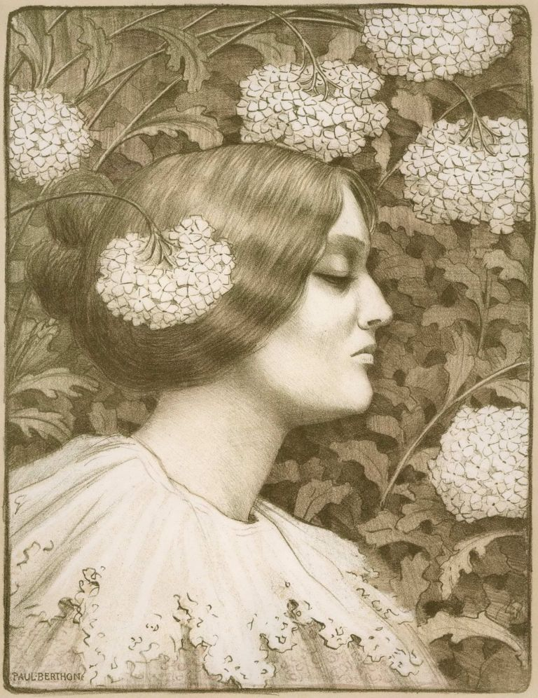 [Female Profile With Flowers]. Paul Berthon, French.