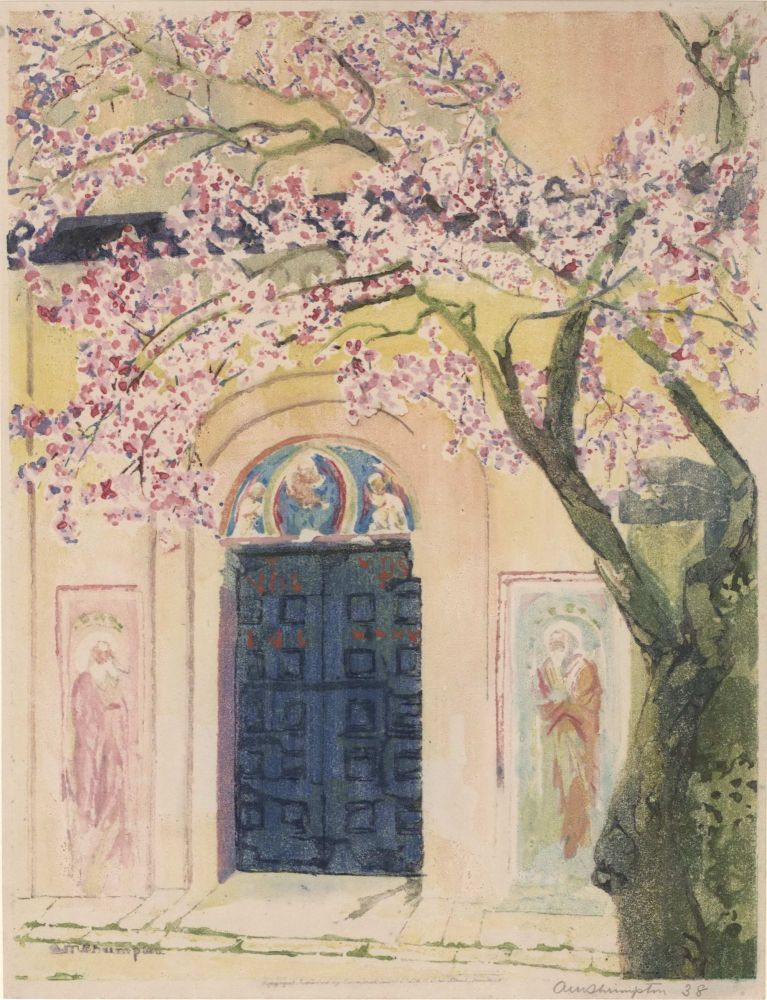 [Chapel Threshold With Blossoms]. Ada Matilda Shrimpton, Brit. 1858–1925.