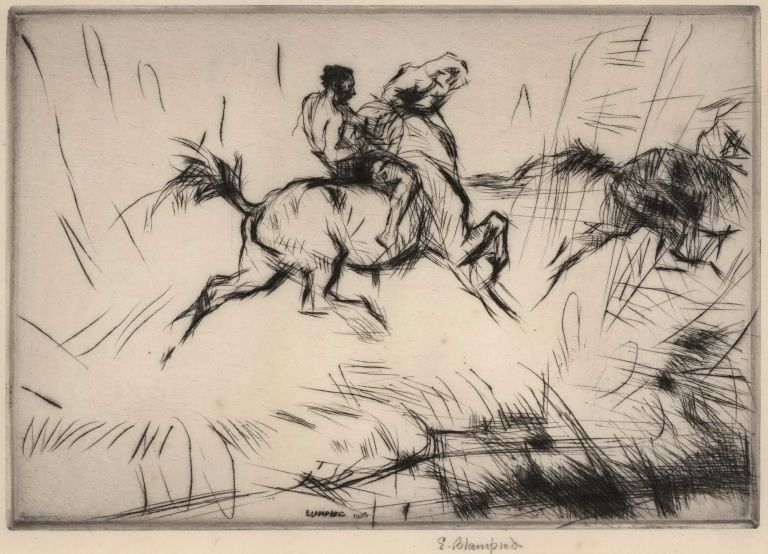 [Horse And Rider Splashing Through The Surf]. Edmund Blampied, British.