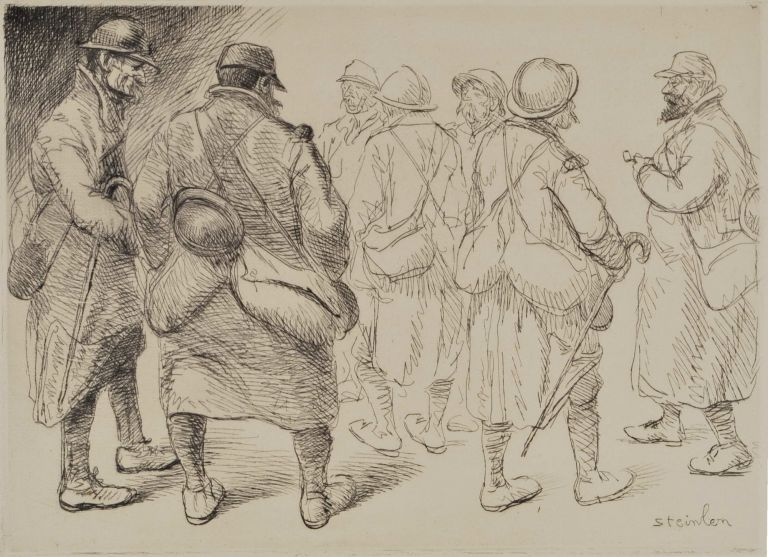 [A Gathering Of Soldiers]. Alexandre Théophile Steinlen, French.
