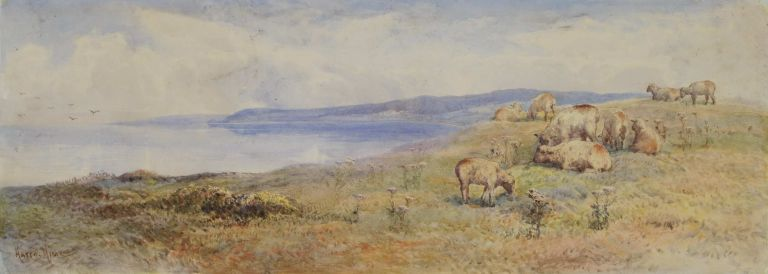 Manx Coast Near Peel, and [Pastoral Landscape With Sheep]. Harry E. Hime, 1863-c1933 Brit.