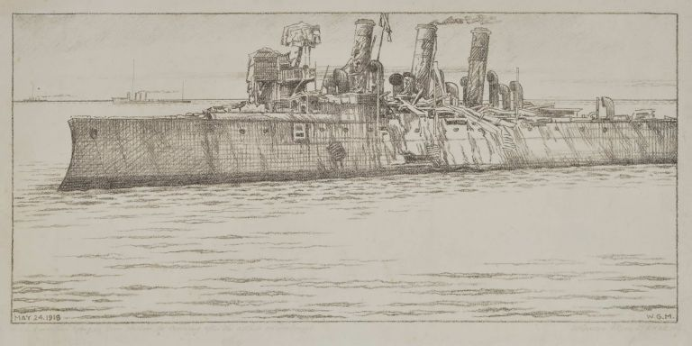 "HMS ""Vindictive"" Lying In Dover Harbour The Morning After The Attack On Zeebrugge. William Gordon Mein, Brit."