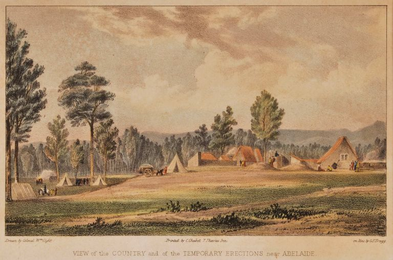View Of The Country And The Temporary Erections Near Adelaide. After Colonel William Light, Brit.