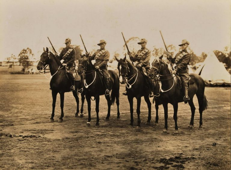 [Four Australian Light Horsemen]. Hall, Co, active 1904-c1930s Aust.