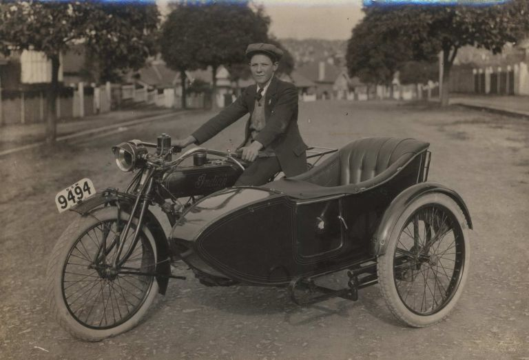 [Young Man With Indian Motorcycle And Sidecar]. Milton C. Kent, Aust.
