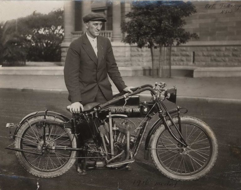 [E.G. Baker With 1916 Model Indian Motorcycle, Outside Art Gallery Of New South Wales, Sydney]