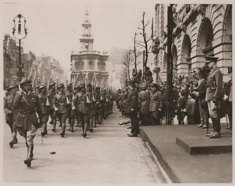 Australian Troops In London. The Prince Of Wales Taking Salute Outside Australia House