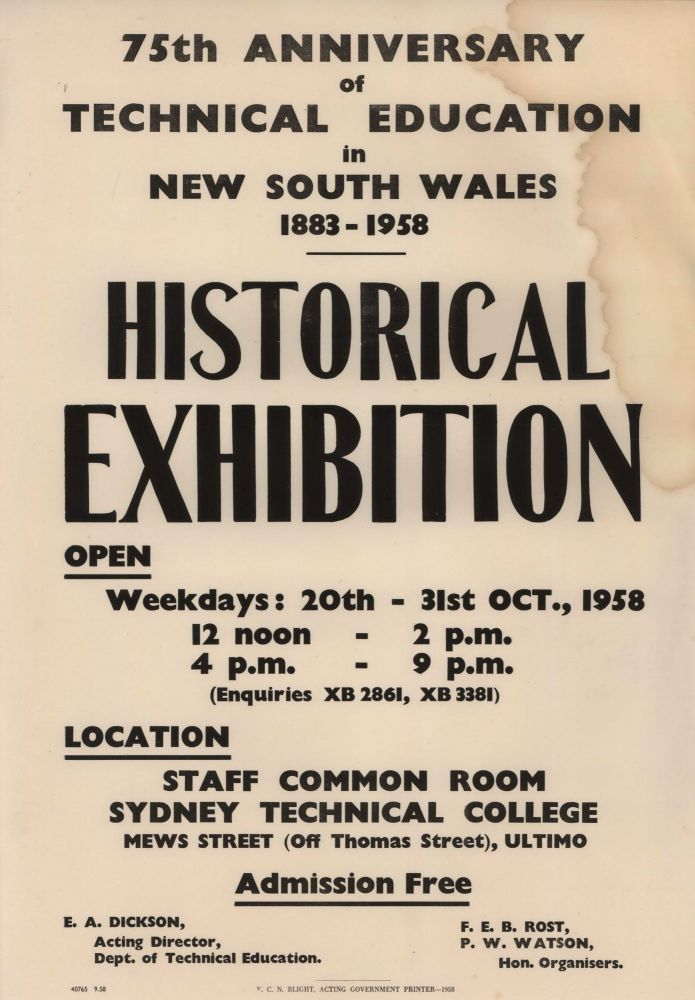 75th Anniversary Of Technical Education In New South Wales, 1883-1958. Historical Exhibition