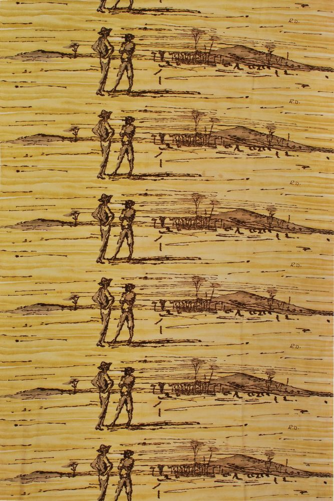 Figures In Landscape. After Russell Drysdale, Aust.