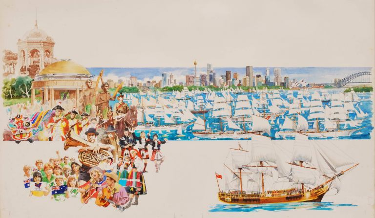 [Australian Bicentenary Celebrations, Showing Sydney Harbour, People Wearing Traditional Dress, And Musicians]. Don Stephens, b.1941 Aust.