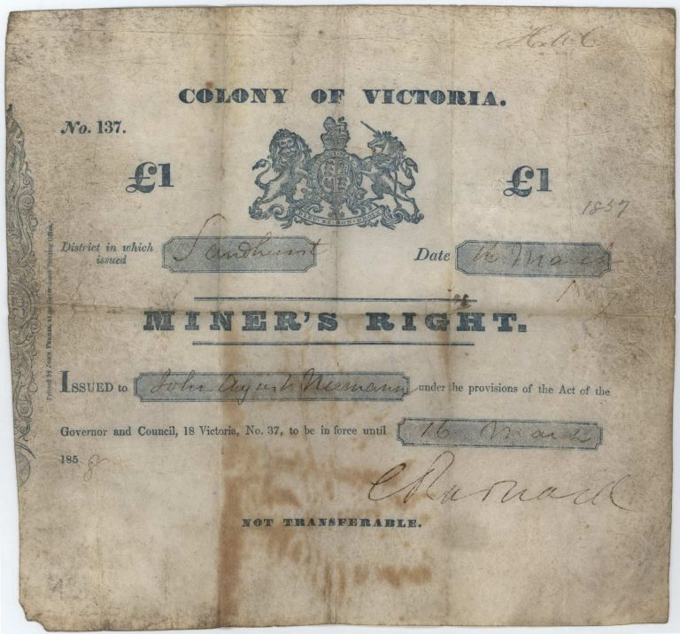 Miner's Right. One Pound. Colony Of Victoria, Issued At Sandhurst [Bendigo]