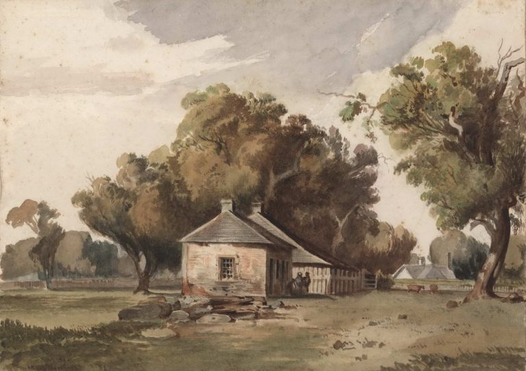 Old Houses In Richmond Paddock. Attrib. Louis Buvelot, Swiss/Aust.