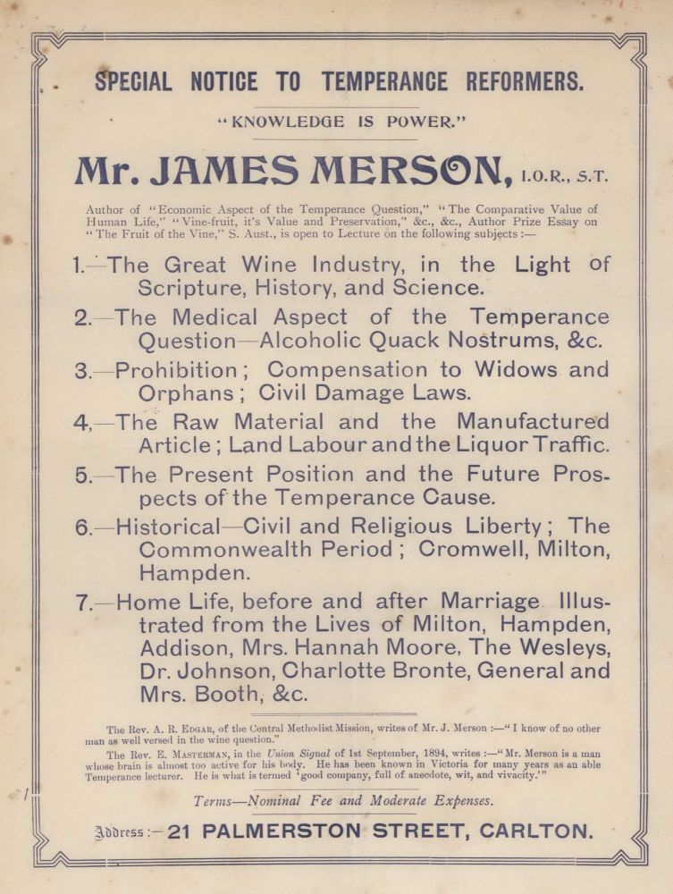 "Special Notice To Temperance Reformers. ""Knowledge Is Power."" Mr James Merson"