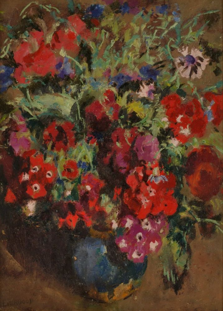 [Flowers In Vase]. Miles Evergood, Australian.