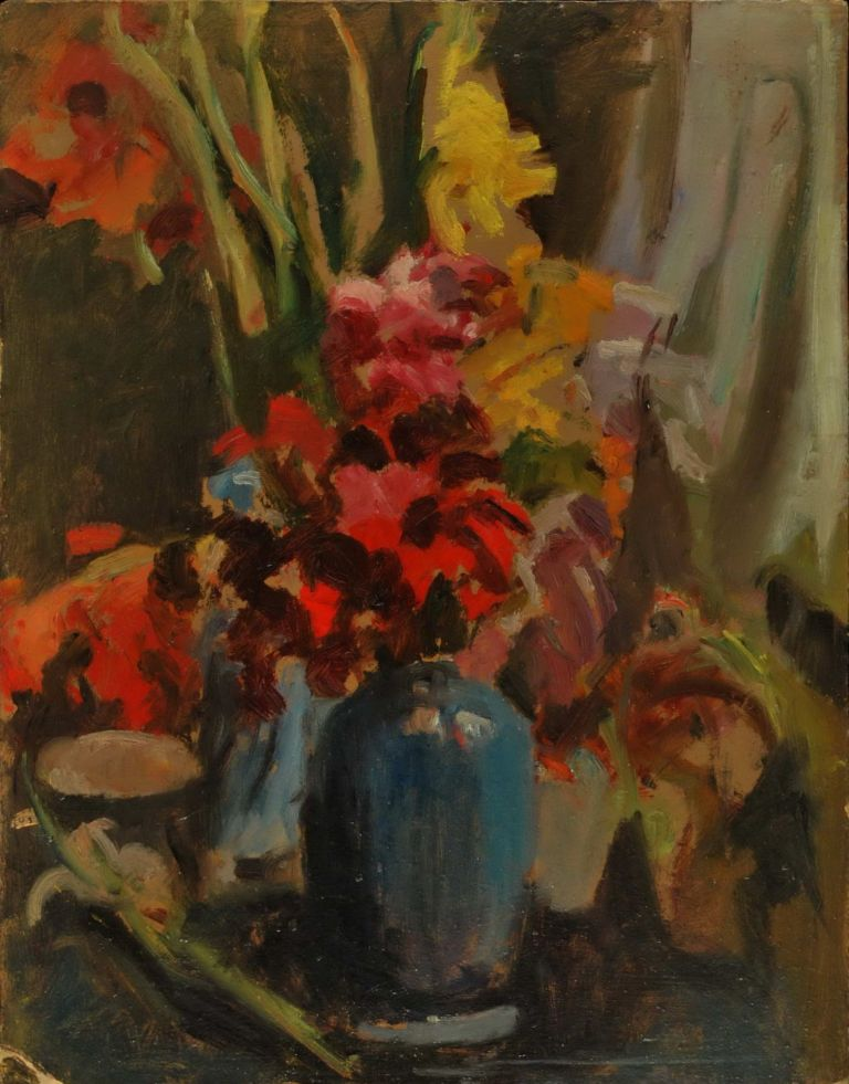 Gladioli [In Blue Vase]. Miles Evergood, Australian.