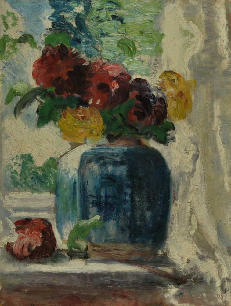 Study Of Flowers In A Blue Vase. Miles Evergood, Australian.