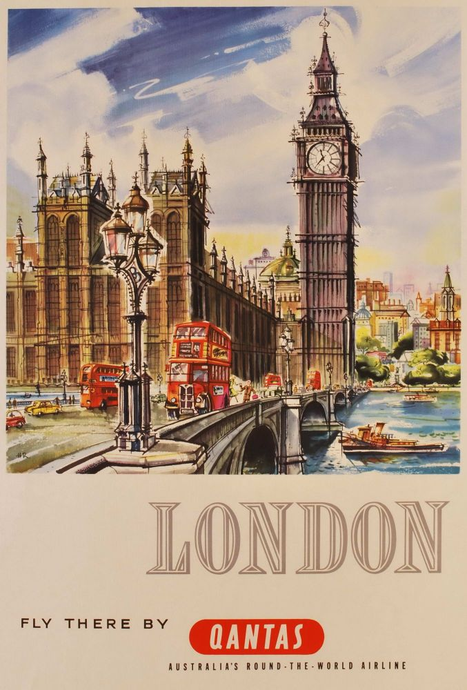 London. Fly There By Qantas. Harry Rogers, Australian.