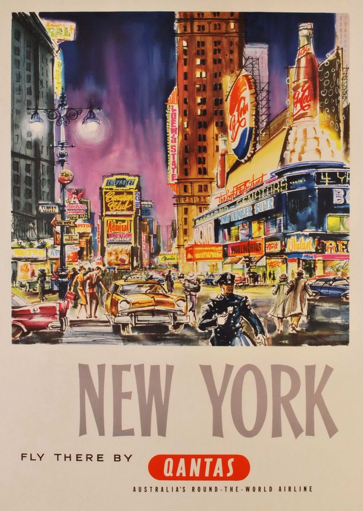 New York. Fly There By Qantas. Harry Rogers, Aust.