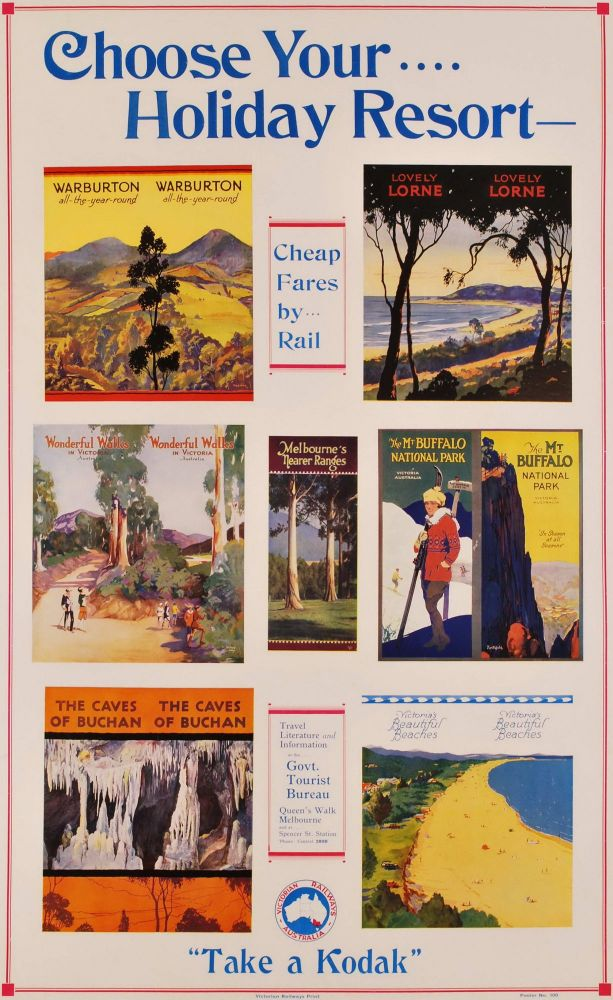 Choose Your Holiday Resort, Cheap Fares By Rail. Percy Trompf James Northfield, Aust.