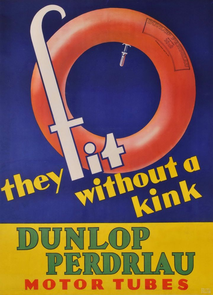 Dunlop Perdriau Motor Tubes. They Fit Without A Kink. Smith, Julius, est. 1906 Australian.