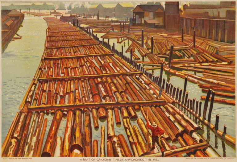 A Raft Of Canadian Timber Approaching The Mill