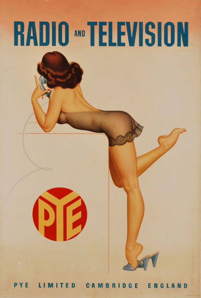 Pye Radio And Television [Brunette Woman With Phone]. Archie Dickens, Brit.