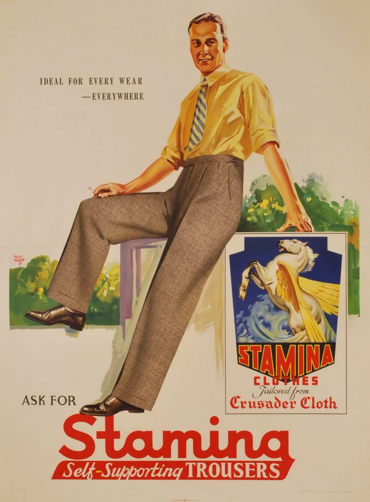 Ask For Stamina Self-Supporting Trousers. Ideal For Every Wear, Everywhere. Walter Jardine, Aust.