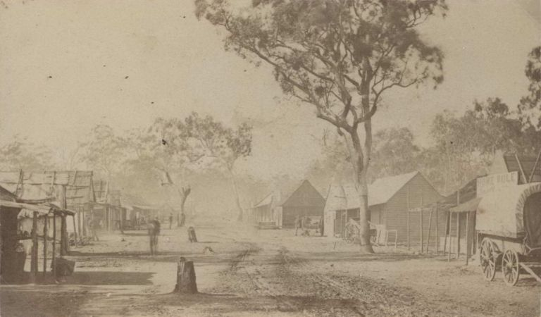 [Main Street, Home Rule, NSW] and [Woman Standing In Doorway, Gulgong, NSW]. Henry Beaufoy Merlin, Aust.