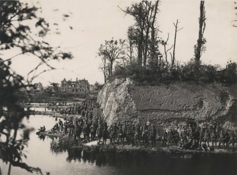 Australian Troops Resting Near The Famous Moat And Ramparts Of Ypres. Frank Hurley, Aust.