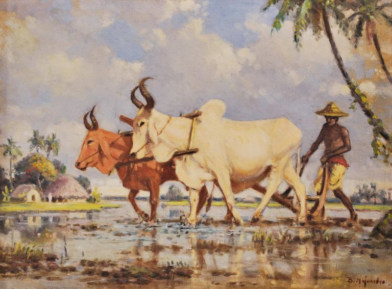 [Man With Oxen Ploughing A Rice Paddy]. B. Majumdar, Indian.