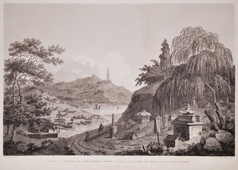 View Of The Tower Of The Thundering Winds On The Borders Of The Lake See Hoo, Taken From The Vale Of Tombs [Lake Xi Hu, Hangzhou, China]. Attrib. William Alexander, Brit.