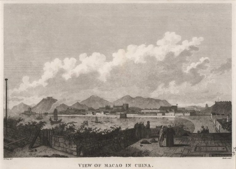 View Of Macao In China. After Gaspard Duché de Vancy, French.