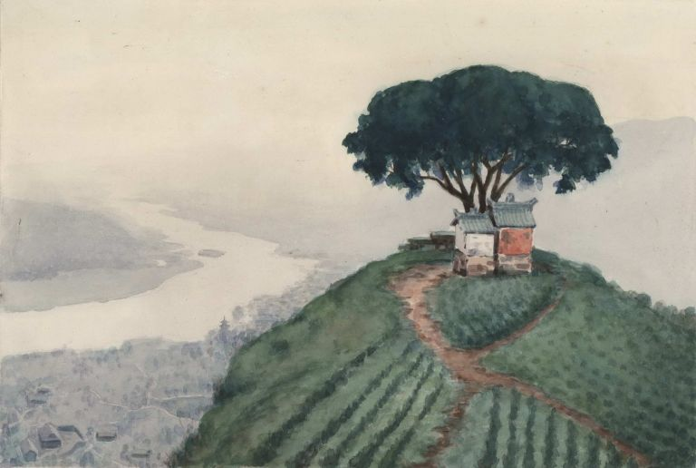 [Buildings On Hill Overlooking Yangtze River, China]