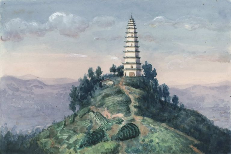 [Thirteen Level Pagoda On A Hill, China]