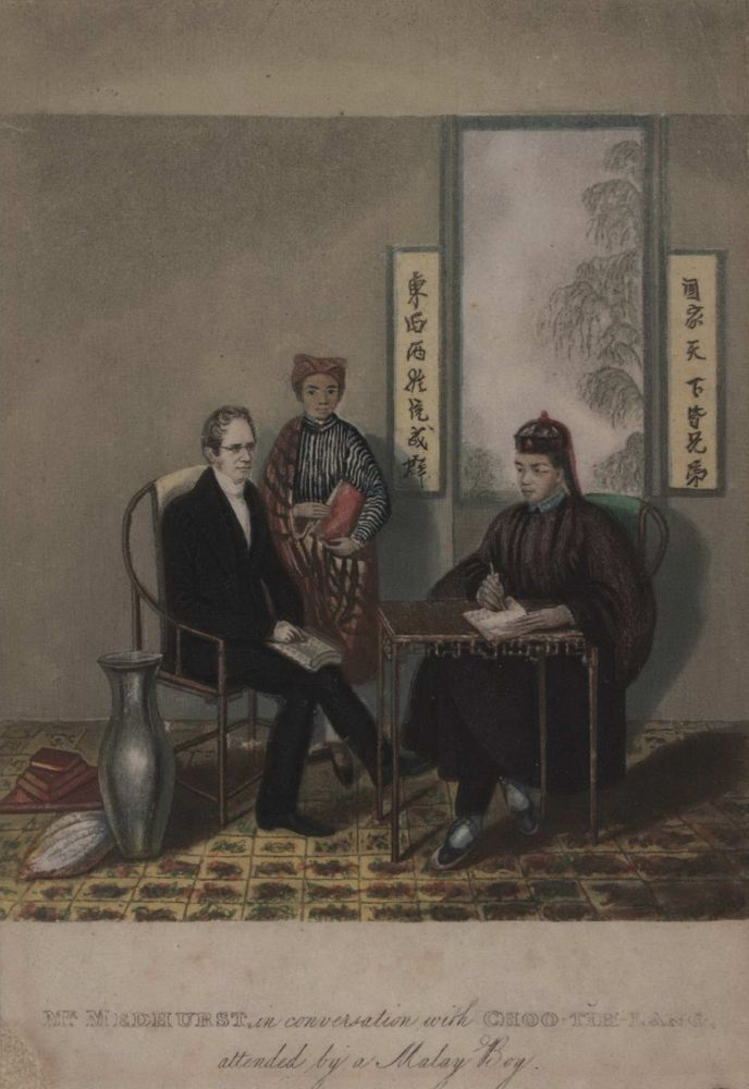 Mr Medhurst In Conversation With Choo-Tih-Lang, Attended By A Malay Boy