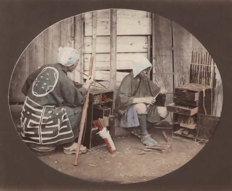 "[""Kiseru"" Smoking Pipe Craftsmen At Work, Japan]. Attrib. Felice Beato, Brit."