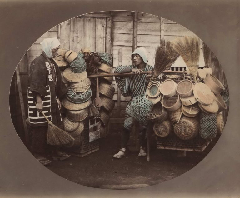 [Basket And Broom Sellers, Japan]. Attrib. Felice Beato, British.