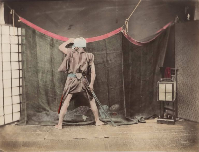[Thief With Sword Peering At Woman Sleeping Under Mosquito Net, Japan]