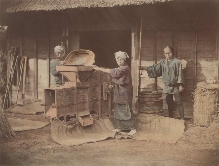 [Three Workers Husking Rice, Japan]