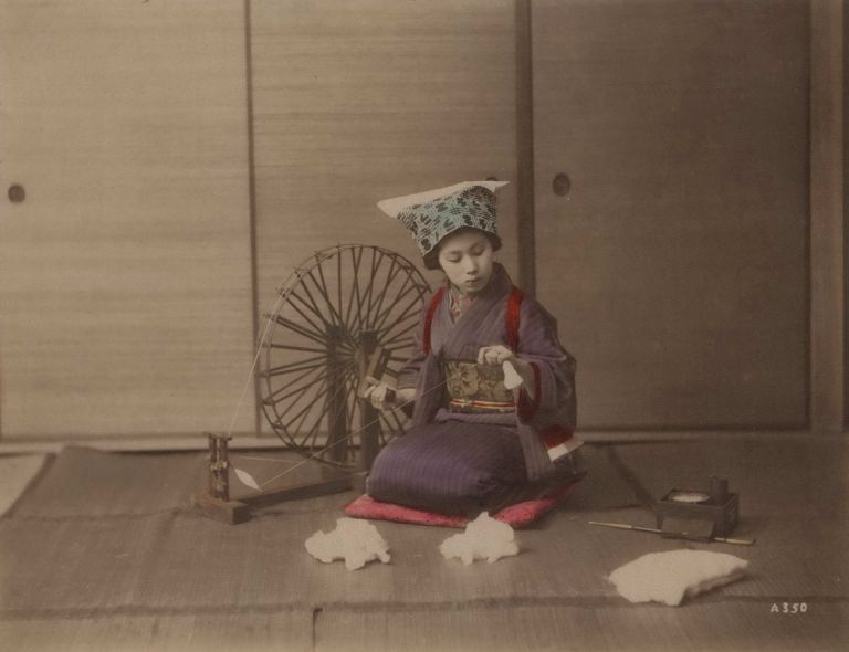[Young Woman With Spinning Wheel, Japan]