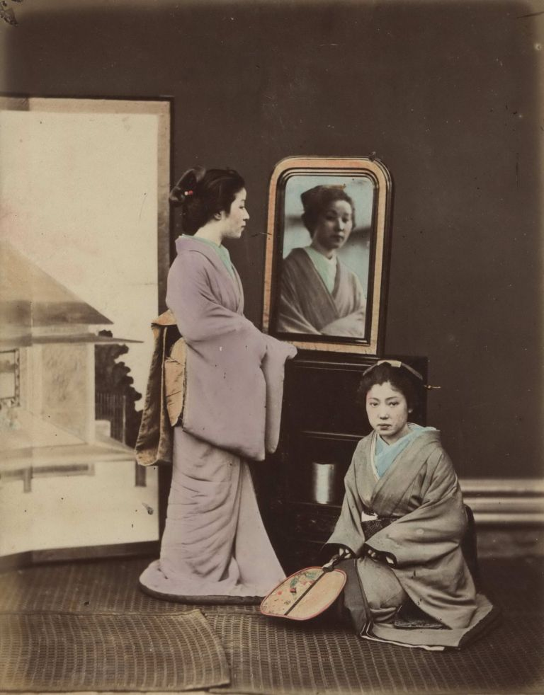 [Japanese Women With Mirror And Fan, And With Writing Desk]