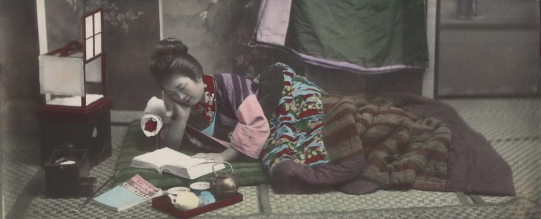 [Woman Reading In Bed, Japan]