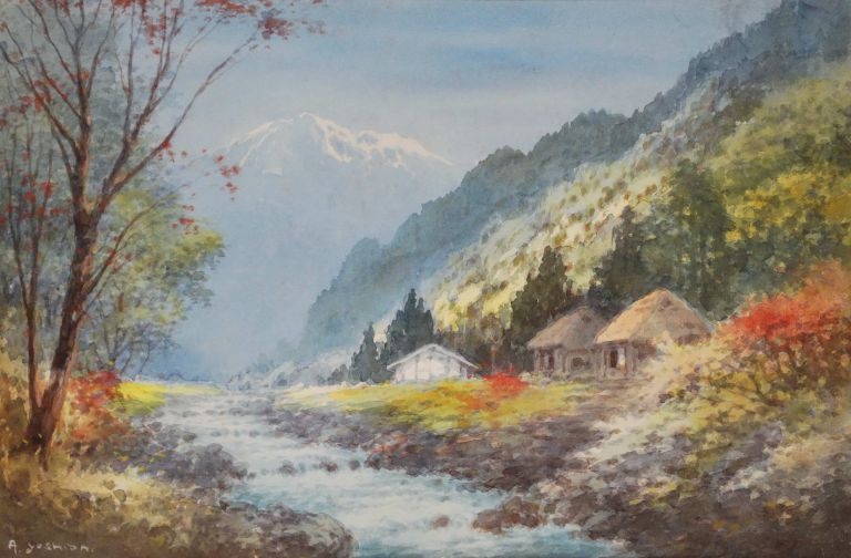 [Homes By A Mountain Stream]. active Japanese, s.