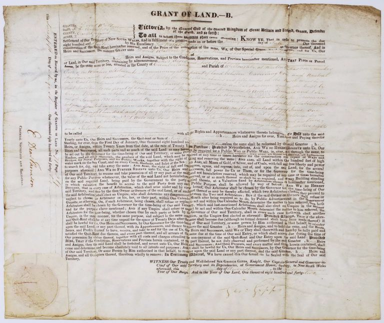 Grant Of Land Signed By Sir George Gipps