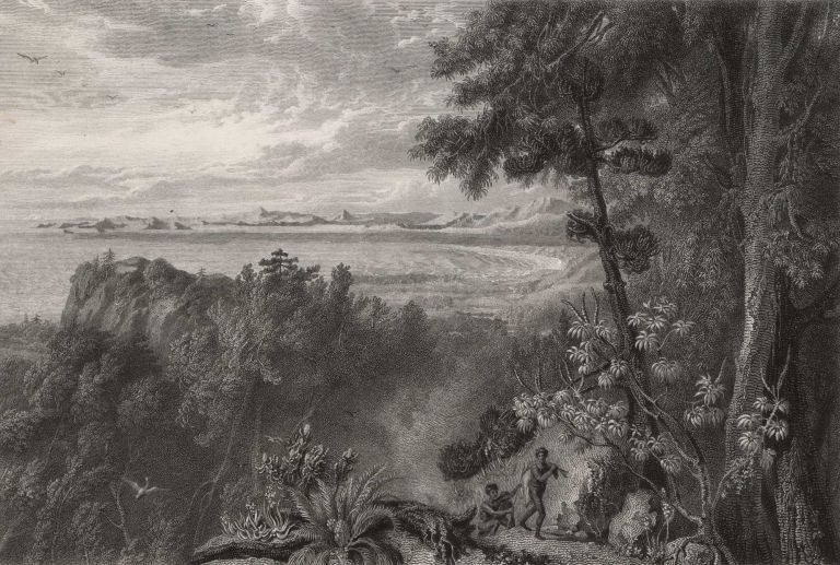 View Of Port Bowen, From The Hills Behind The Watering Gully. After William Westall, British.