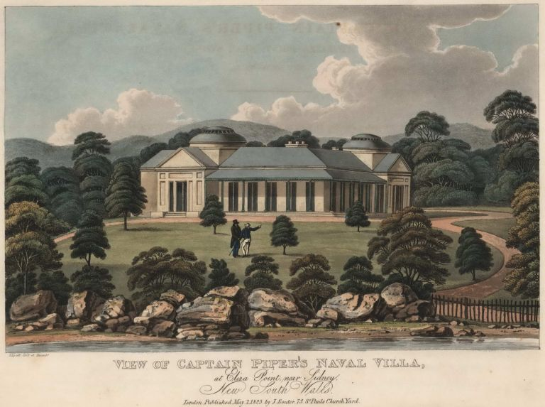 View Of Captain Piper's Naval Villa, At Eliza Point, Near Sidney [sic], New South Wales. Joseph Lycett, c1775-c1828 Aust.