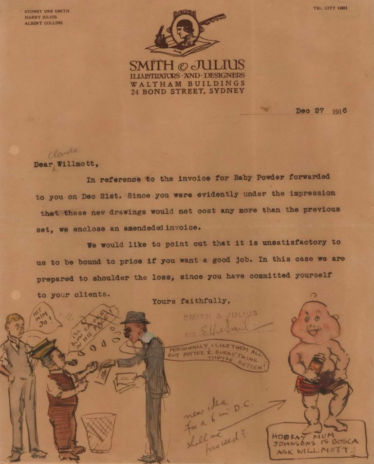 [Baby Powder Caricature On Smith & Julius Letterhead]. Sydney Ure Smith and Harry Julius, Aust.