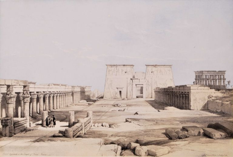 Grand Approach To The Temple Of Philae, Nubia [Egypt]. David Roberts, British.